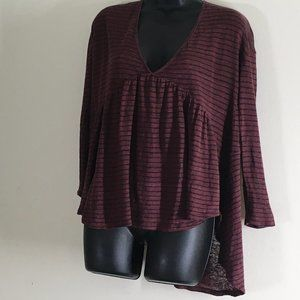 Lucky Brand Maroon Blue Stripe Long Sleeve Peasant